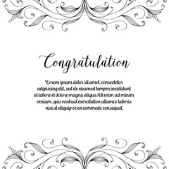 Congratulation card with flower frame art vector illustration