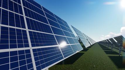 Solar Farm Under Sunny Sky