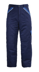 Blue protective work trousers isolated on white background
