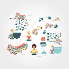 community people with social media icons vector illustration design