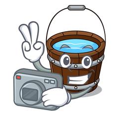 Photographer wooden bucket mascot cartoon