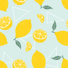 Lemon seamless pattern with triangles on light blue background. Vector illustration