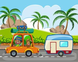 A man and pet on caravan