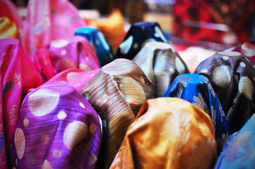Choices for Textiles, fabrics with different designs and colours on sale at shop