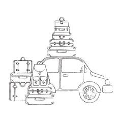 car with suitcases bags pile vector illustration design