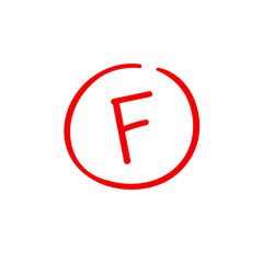 F examination result grade red latter mark.