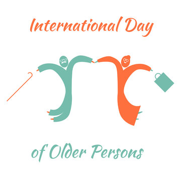 International Day of Older Person. Old man and woman jumping for joy