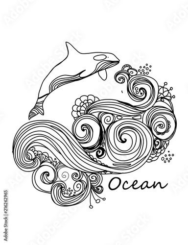 vector Beautiful background with a pattern of ocean waves