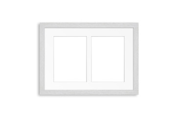 White wooden frame for two pictures. Home, office, studio or gallery interior decoration mock up