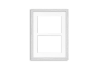 White wooden frame for two pictures. Home, office, studio or gallery interior decoration mockup