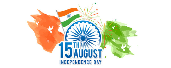 August 15th, Indian Independence Day banner Vector illustration. Fireworks and Ashoka chakra wheel on watercolor splash.