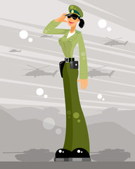 Woman soldier salutes