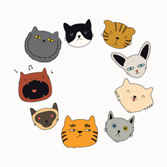 Set of cute funny color doodles of different cats faces. Round frame with copy space. Isolated objects. Hand drawn vector illustration. Line drawing. Design concept for poster, t-shirt print.