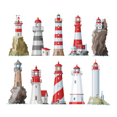 Lighthouse vector beacon lighter beaming path of lighting to ses from seaside coast illustration set of lighthouses isolated on white background