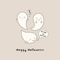 Wall Murals Illustrations Hand drawn vector illustration of a kawaii funny ghosts, with text Happy Halloween, Boo, Trick or treat in speech bubbles. Isolated objects. Line drawing. Design concept for print, card, invitation.