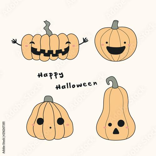 Hand Drawn Vector Illustration Of A Kawaii Funny Pumpkin