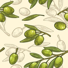 Seamless pattern olives on branch with leaves.