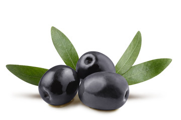 Delicious black olives with leaves, isolated on white background Fototapete