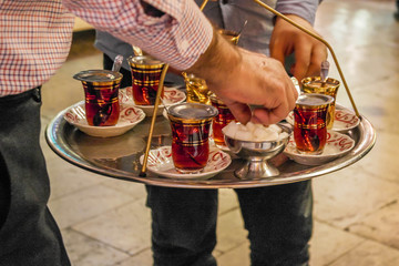 Papiers peints Moyen-Orient Traditional small cups of Turkish black tea.
