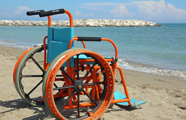 special aluminum wheelchair with perforated wheels to go on the