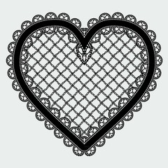 Black lace mesh heart. Feminine luxury element for the design of invitations, postcards or decoupage.