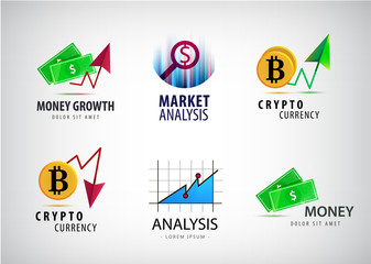Vector set of financial, crypto currency logos. Market analisys, chart icons