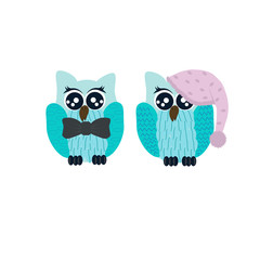 Vector illustration whith of two cute cartoon owls  for greeting card and invitation.