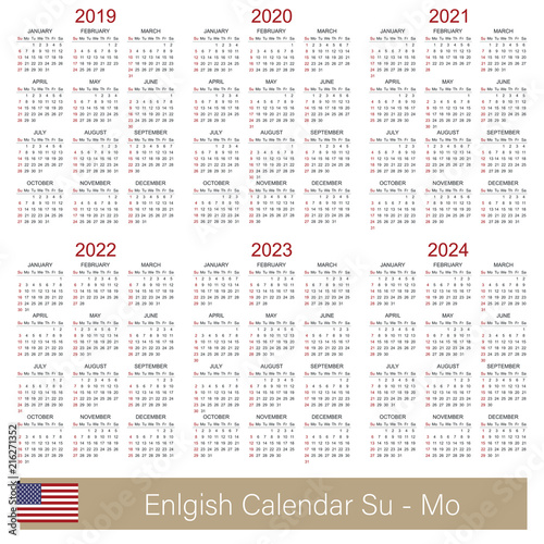 English Calendar 2019 2024 English Calendar Week Starts On Sunday