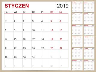 Polish Calendar 2019 / Polish planning calendar 2019, Polish calendar template for year 2019, set of 12 months, week starts on Monday, printable calendar templates vector illustration