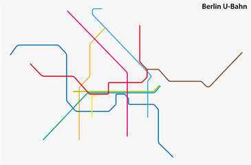 colored subway vector map of Berlin, germany