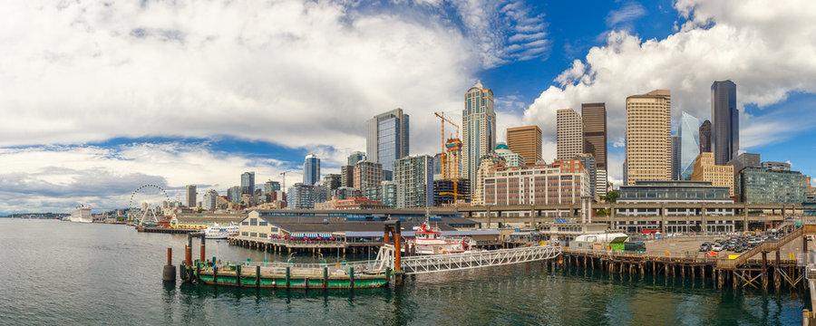 Seattle skyline and waterfront view, Washington state, USA