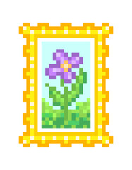 Floral field, oil on canvas, still life painting in a golden frame, pixel art icon on white background. Photo of a flower, element of home interior.Botanical illustration for wall decor.Nature artwork