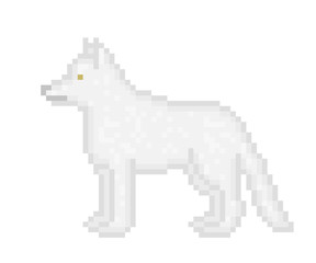 Gray wolf standing, side view, pixel art cartoon illustration isolated on white background. White dog symbol. Zoo/wildlife animal icon. Retro vintage old school 80s, 90s video/pc game character.