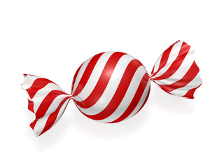 Candy in striped wrapper 3d rendering