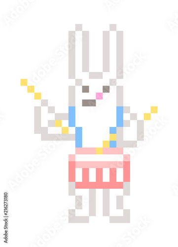 White rabbit playing snare drum, pixel art character