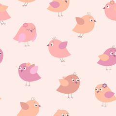 Cute seamless pattern with different cartoon birds