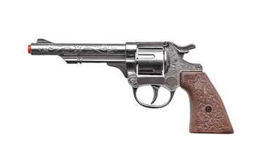 plastic toy gun pistol isolated  on white