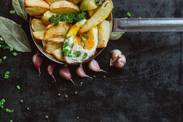 Breakfast in pan with fried eggs, potatoes, fresh herbs  on dark  background copy space