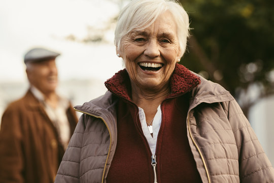 Cheerful senior woman outdoors on a winter day