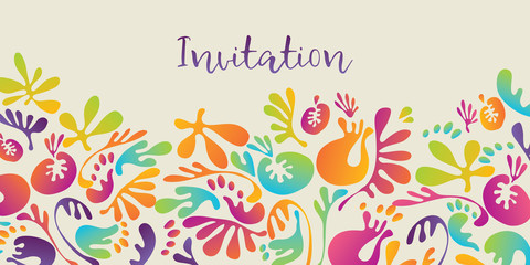 Abstract tropical colorful floral pattern for invitation