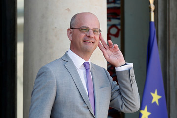 French Education Minister Jean-Michel Blanquer leaves after the weekly cabinet meeting at the Elysee Palace in Paris
