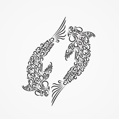 Silhouette of two carp from decorative ornate ornaments and curls.