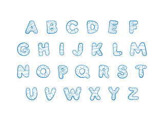 Hand-drawn cute vector alphabet for kids. Comic doodle font written by blue ink pen with decorative ornament. Collection of cartoon capital letters collection in children ABC.