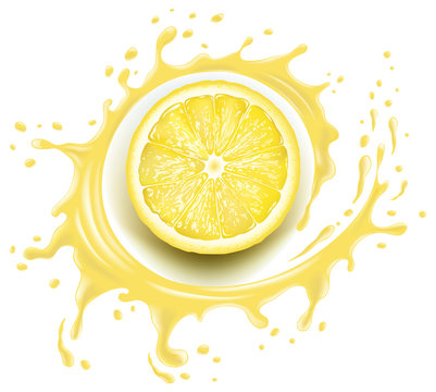 Yellow lemon slice with splash and many juice drops
