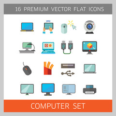 Computer Icon Set. Mouse Tablet Internet Connection Web Camera Open Laptop Desk Display Big Monitor Desktop Printer Laptop Screen Internet Of Things