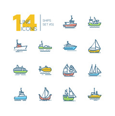 Water transport - colorful line design icons set
