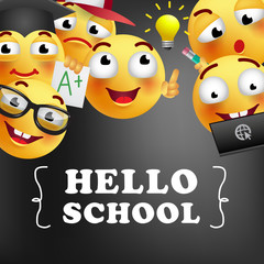 Hello school lettering with smiling emojies. Offer or sale advertising design. Typed text, calligraphy. For leaflets, brochures, invitations, posters or banners.
