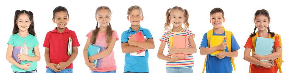 Cute school children with stationery on white background