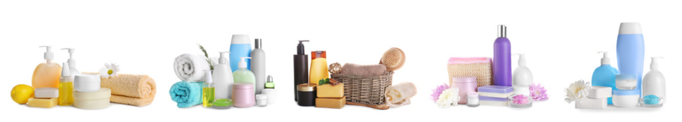 Set of body care products on white background