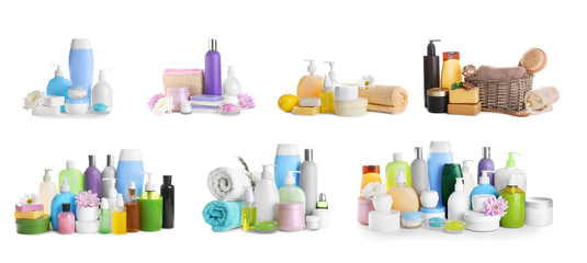 Wall Mural - Set of body care products on white background